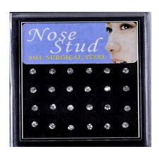 24X Crystal Rhinestone Nose Ring Bone Stud Surgical Steel Body Piercing Jewelry