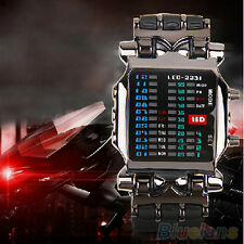 Men's Women's Sport Binary LED Digital Date Square Dial Plastic Band Wrist Watch