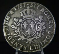 1 ECU, Louis XV, 1767 L, Very Large 41.6 mm SILVER Coin