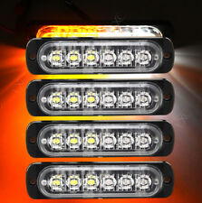 4x LED Car vehicle Strobe Flash Light Emergency Warning Flashing White Amber !