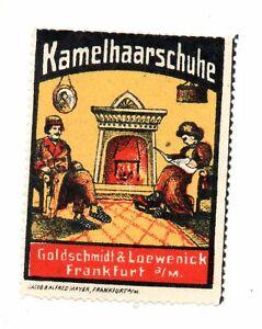 Werbemarke Vignette,Kamelhaarschuhe Goldschmidt & Loewenick Frankfurt a/M,Kamin