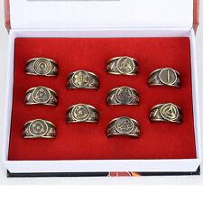 Anime Naruto Kakashi Sasuke Syaringan Bronze Metal Finger Ring Cosplay Gift 10pc