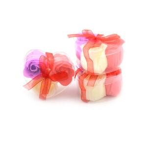 3Pcs/Box Colorful Scented Petal Bath Body Paper Soap Rose Flower Favor Decor  S-