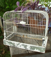 Old Crown Antique Bird Cage Birdcage Tray Metal Painted Domed Decorative White