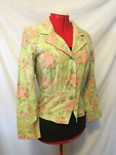 Christopher & Banks Green Pink Floral Linen Peplum Jacket Top Size Large L NWT