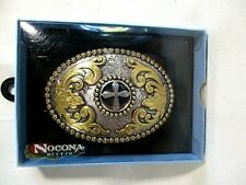 Nocona CROSS  Oval Belt Buckle Gold and Silver Tone M & F Western
