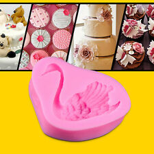 Pink Swan Style Silicone Mould Polymer Clay Sugar DIY Craft Cake Decorating CTY