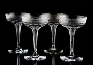 Antique Crystal Geometric Etch Hollow Stem Champagne Glasses Set of 4 Elegant