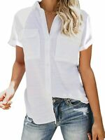 Womens Button Down V Neck Shirts Roll Up Cuffed Sleeve Blouse with Pockets Small