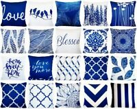 "Navy Blue Velvet PILLOW COVER Home Decor Soft Double-Sided Cushion Case 18x18"""