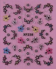 Rose Flowers Petals Rhinestone Crystal 3D Nail Art Stickers XF 238
