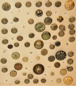 59 Antique Embossed Design Metal Sewing Buttons Filigree Overlay Cut  Steel