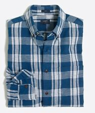 New With Tag J Crew Men Plaid Homespun Shirt. Large Size Checkered Blue.