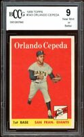 1958 Topps #343 Orlando Cepeda Rookie Card BGS BCCG 9 Mint+