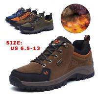 Mens Fur Lining Warm Outdoor Hiking Shoes Waterproof Casual Walking Sneakers