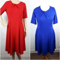 NEW Ladies RED BLUE Ponte Short Sleeve FIT and FLARE Dress Size 10 - 24