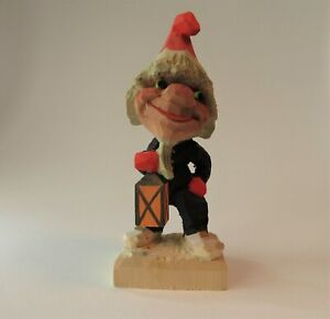 """VTG Henning Of Norway Hand Carved Wooden Troll Gnome w/ Lantern Signed 7"""""""