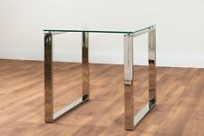MIAMI Modern Chrome Metal and Tempered Glass Living Room Side End Table