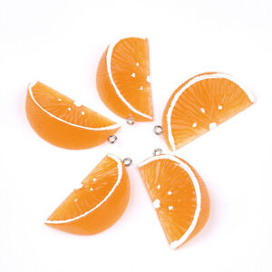 10pcs Fruit Resin Orange Pendants Coral Dangle Charms Cute Hang Ornament 43~44mm