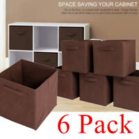 6 Pack Foldable Storage Cubes Collapsible Fabric Bins Organizer Basket Box