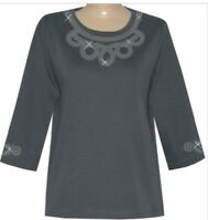 3/4 Sleeve  Round Neck  Rhinestone Design Top - S-XL  and Plus Sizes 1x 2x 3x