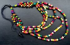 Boho / Lagenlook 70's Style Wooden Rainbow Multi Statement 8 Strand Necklace