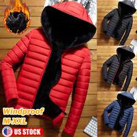 Men's Winter Warm Hooded Thick Padded Jacket Zipper Hoodies Parka Outwear Coat