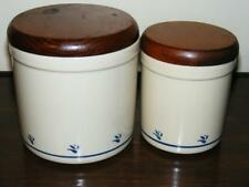 SET OF 2 ROSEVILLE POTTERY FRIENDSHIP BLUE FLOWER CANISTERS 1 QT & 2 QT FREE SH