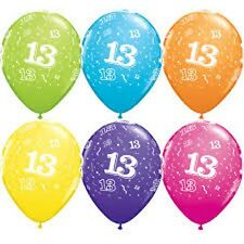 Party Supplies Decorations 13th Birthday 13 Around 28cm Tropical Balloons Pk 10