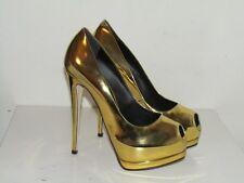 Giuseppe Zanotti Sharon Peep-toe Platform Mirrored Gold Pumps sz 8.5