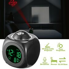 Digital Alarm Clock Multifunction Voice Talking LED Projection LCD Temperature