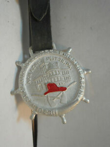 1926 PENNSYLVANIA VOLUNTEER FIREMENS 33rd CONVENTION WATCH FOB W/ LEATHER STRAP