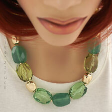 DANA BUCHMAN Shiny GOLD & GREEN NECKLACE Gold & Green BEADS with GOLD Tone CHAIN