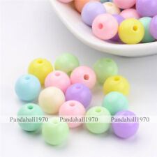 100 Pcs  Round Solid Chunky Bubblegum Acrylic Ball Beads Crafts Mixed Color 10mm