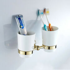 Gold Polished Brass Bathroom Dual Ceramic Cups Wall Mount Toothbrush Holder Set