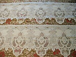 """Pair of 48"""" White Polyester Lace for trim or Cafe curtains"""