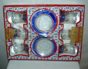 Lux Turkish Glass Tea Set 6 Glasses 6 Saucers 925 Silver Special Glass