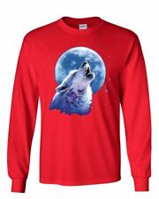 Call of the Wild Long Sleeve T-Shirt Lone Wolf Howling at the Moon Wildlife Tee