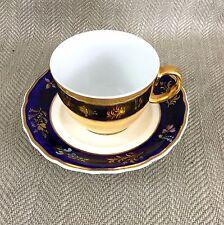 Antique Teacup & Saucer Spode Royal Worcester Gold Reflective Mirror Duo