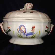 LONGCHAMP FRANCE FAIENCE COQ TUREEN & LID BLUE ROOSTER BIRD RED FLOWERS
