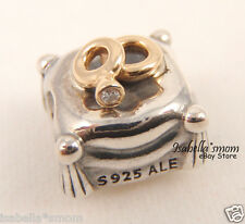ROMANTIC UNION Genuine PANDORA Silver/14K GOLD/DIAMOND Wedding RINGS Charm NEW