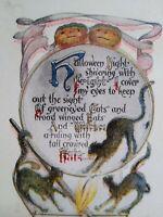Vintage Halloween Postcard H B Spencer Gold Edge Black Cat Original Holidaysburg