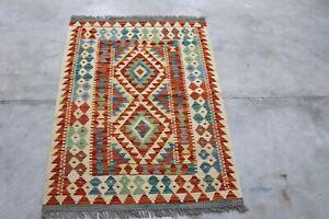 Afghan Kundoz Genuine Handmade Tribal Nomad Multi Colour Wool Kilim Rug 88x121cm