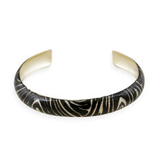 Gold Tone Enamel Zebra Print Bangle Bracelet