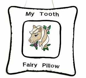 Tooth Fairy Pillow with embroidered Brown Pony head White Cotton New Handmade