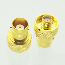 10pcs BNC female jack to SMA female jack RF adapter connector GOLD