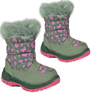 **KIDS GIRLS WINTER SNOW MOON MUCKER WATERPROOF WELLINGTON BOOTS SHOE PINK FUR