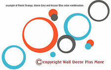 Circles Rings & Dots Wall Stickers Vinyl Decal 75+pc 3color Peel-n-Stick NEW Kid