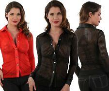Bluse Transparent Top Sexy Frau Gestreift Hemd Oberteil Spazm T.S / M Oder L/XL