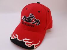 Choppers Hat Motorcycle Racing Embroidered Flames Adjustable Cap Red